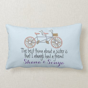 Beach Themed Decorative Pillow Sister Quote Tandem Bicycle
