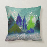 decorative pillow with evergreen forest