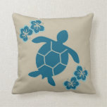 decorative pillow with sea turtle, blue on tan