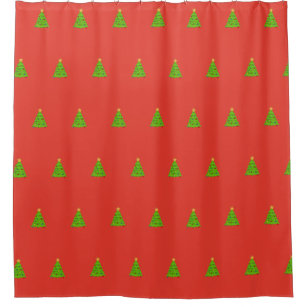 Decorative Pine Tree Red Christmas Shower Curtain