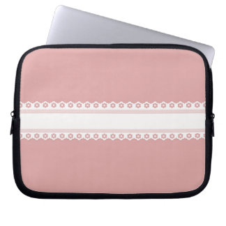Decorative Pink And White Lace Laptop Sleeve