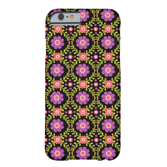 Decorative Pink Flowers  Pattern On Black Barely There iPhone 6 Case