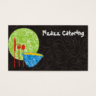 Decorative plate bowl utensils chef catering bu... business card