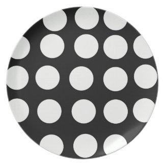 Decorative Plates Black and White Polka Dots