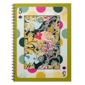 DECORATIVE PLAYING CARDS RANDOM PATTERNS FIVE BACK SPIRAL NOTEBOOK