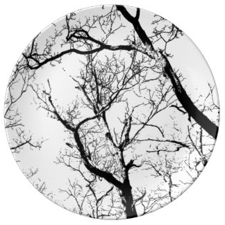 Decorative Porcelain abstract black white tree Plate