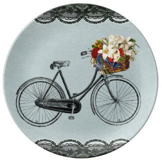 Decorative Porcelain  green flower bike bicycle Plate