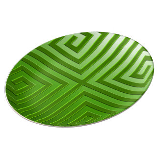 Decorative Porcelain Plate-graphic design in green Dinner Plate