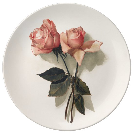 Decorative Porcelain Plate with Vintage Roses