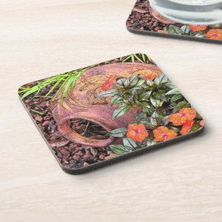 """""""DECORATIVE POTTERY IN GARDEN"""" SET OF 6 COASTERS"""