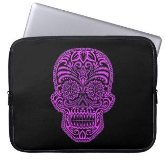 Decorative Purple and Black Sugar Skull Laptop Sleeves