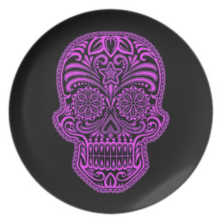 Decorative Purple and Black Sugar Skull Party Plates