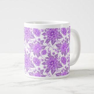 Decorative Purple Flowers Large Coffee Mug
