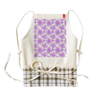 Decorative Purple Flowers Zazzle HEART Apron