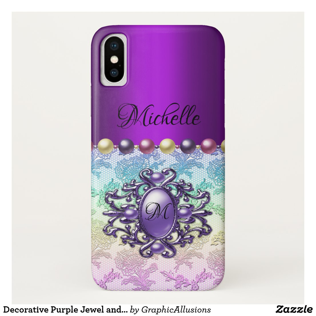 Decorative Purple Jewel and Rainbow Lace Case-Mate iPhone Case
