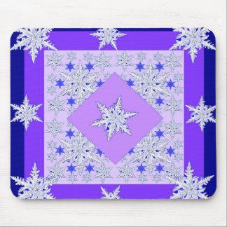 DECORATIVE PURPLE SNOW CRYSTALS  WINTER ART MOUSE PAD