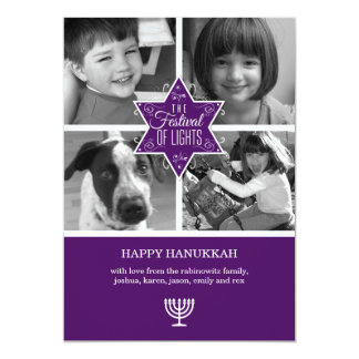 Decorative Purple Star of David Hanukkah Card
