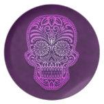 Decorative Purple Sugar Skull Party Plate