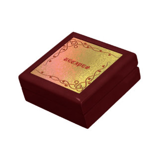 Decorative Recipe Red and Gold Abstract Gift Box