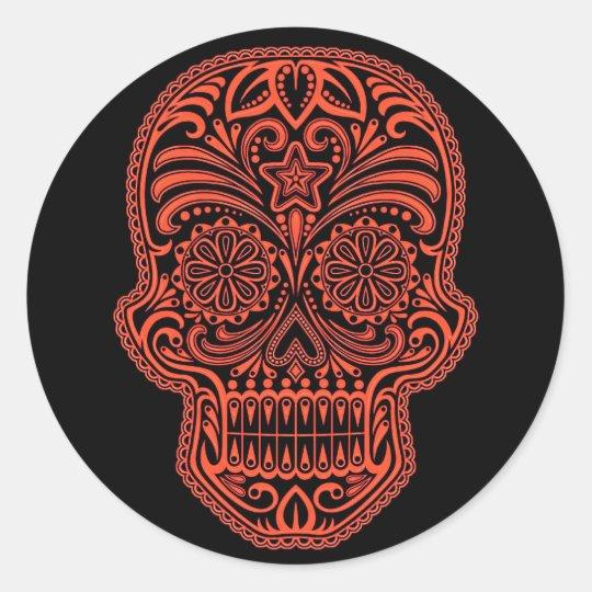 Decorative Red and Black Sugar Skull Classic Round Sticker