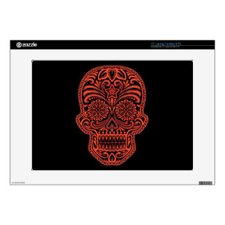 Decorative Red and Black Sugar Skull Laptop Skin
