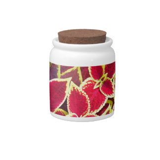 Decorative red and yellow coleus candy jar