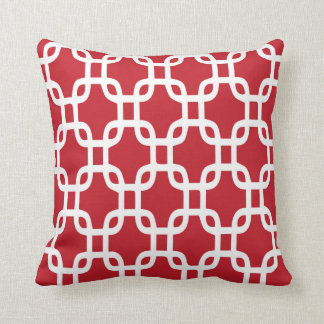 Decorative Red Chain Link Throw Pillow
