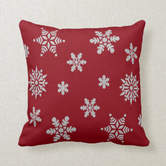 Decorative Red Crystal Snowflake Merry Christmas Pillow