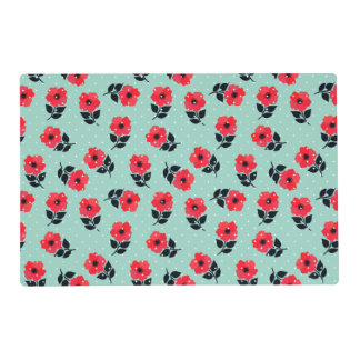 Decorative Red Flowers on Mint Blue Background Placemat