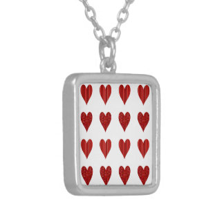 Decorative Red Hearts Square Pendant Necklace