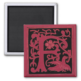Decorative Red Initial F Magnet