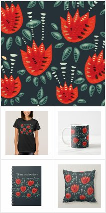 Decorative Red Tulips Pattern