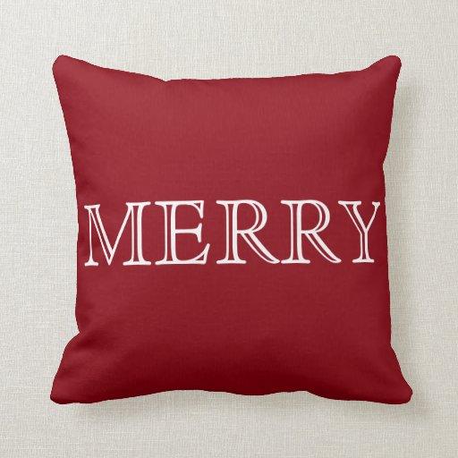 Decorative Red & White Merry Christmas Throw Pillow Zazzle