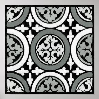 Decorative Renaissance Rosette Tile Design Poster