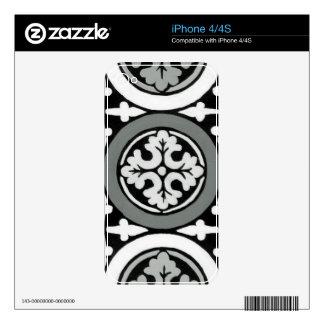 Decorative Renaissance Rosette Tile Design Skins For iPhone 4S