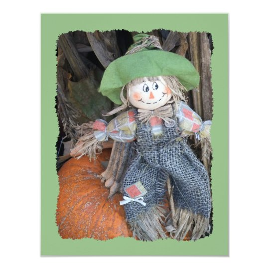Decorative Scarecrow Child Birthday Party Invites