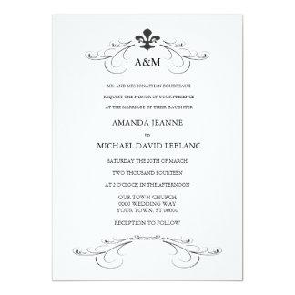 Decorative Scroll Fleur de Lis Wedding (Gold) 5x7 Paper Invitation Card