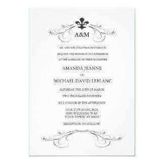 Decorative Scroll Fleur de Lis Wedding Invitations