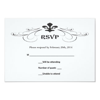 Decorative Scroll Fleur de Lis Wedding RSVP Cards
