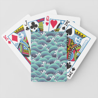 Decorative Sea Wave Background Bicycle Playing Cards