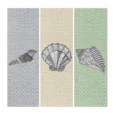 Beach Themed Decorative Seashells on Custom Color BG Triptych