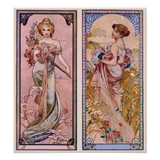 Decorative Seasons of Summer and Spring Poster