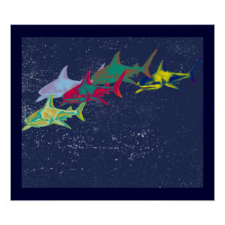 decorative sharks for walls poster