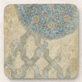 Decorative Silver Tapestry Floral Arrangement Drink Coasters