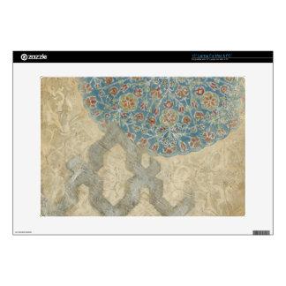 "Decorative Silver Tapestry Floral Arrangement Decals For 15"" Laptops"