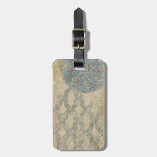 Decorative Silver Tapestry Floral Arrangement Luggage Tag