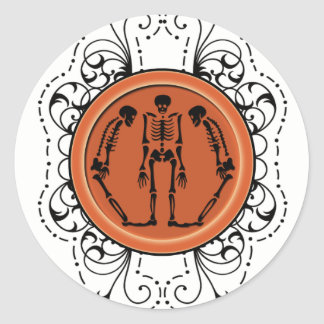 Decorative Skeleton Halloween Treat Label Stickers