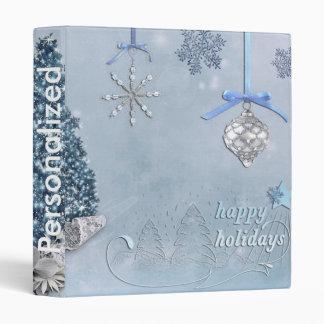Decorative Snow Blue & White Ball Merry Christmas 3 Ring Binder