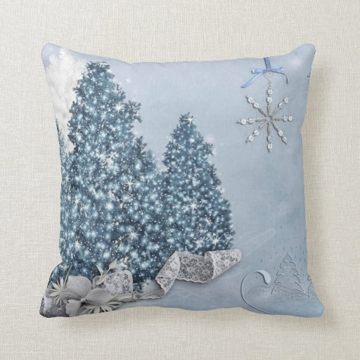 Blue White Throw Pillow : Decorative Snow Blue & White Ball Merry Christmas Throw Pillow Zazzle