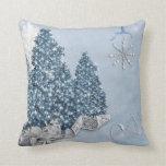 Decorative Snow Blue & White Ball Merry Christmas Throw Pillow